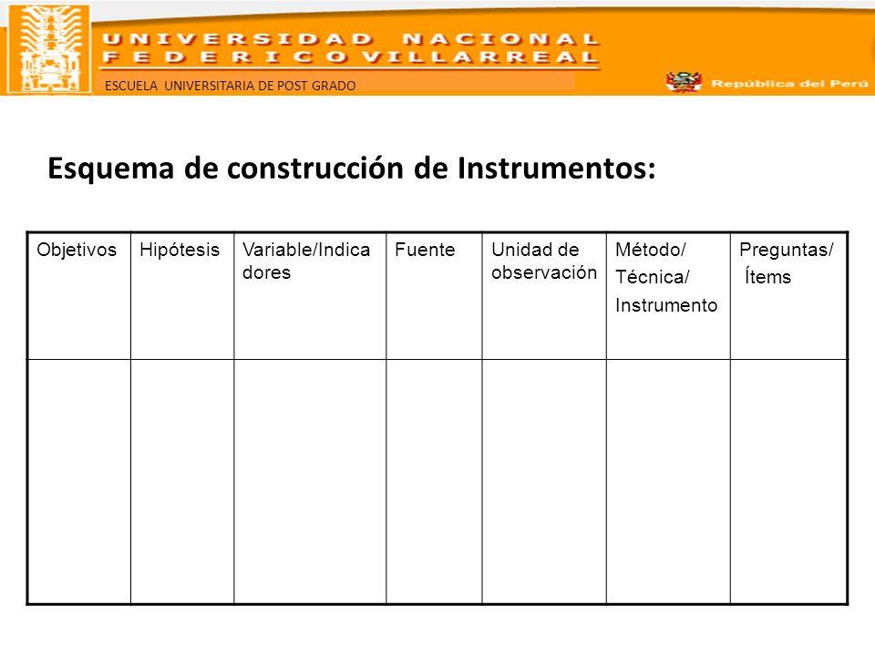 Esquema de construcción de Instrumentos: