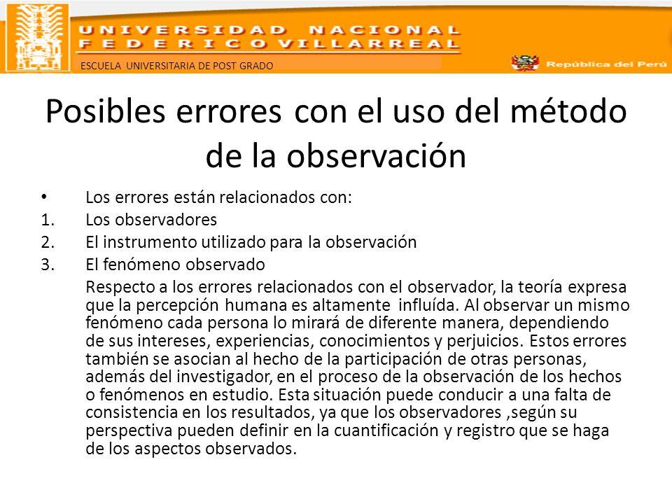 Posibles errores con el uso del método de la observación