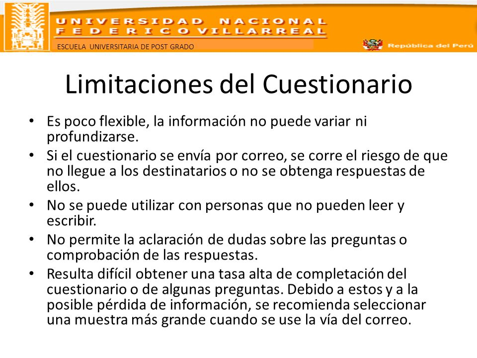 Limitaciones del Cuestionario