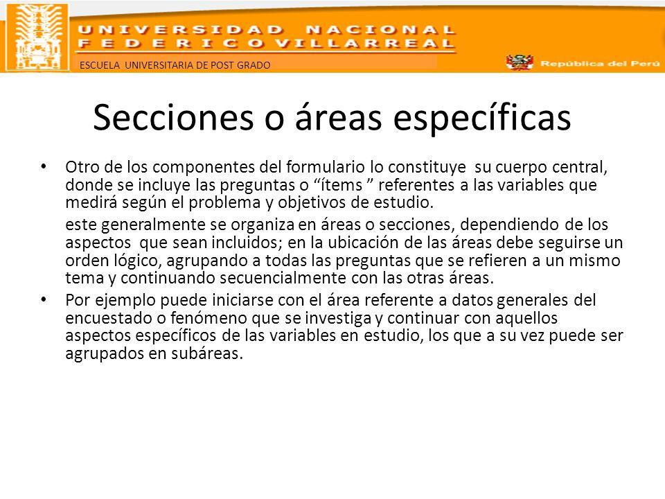 Secciones o áreas específicas