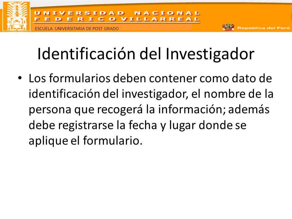 Identificación del Investigador