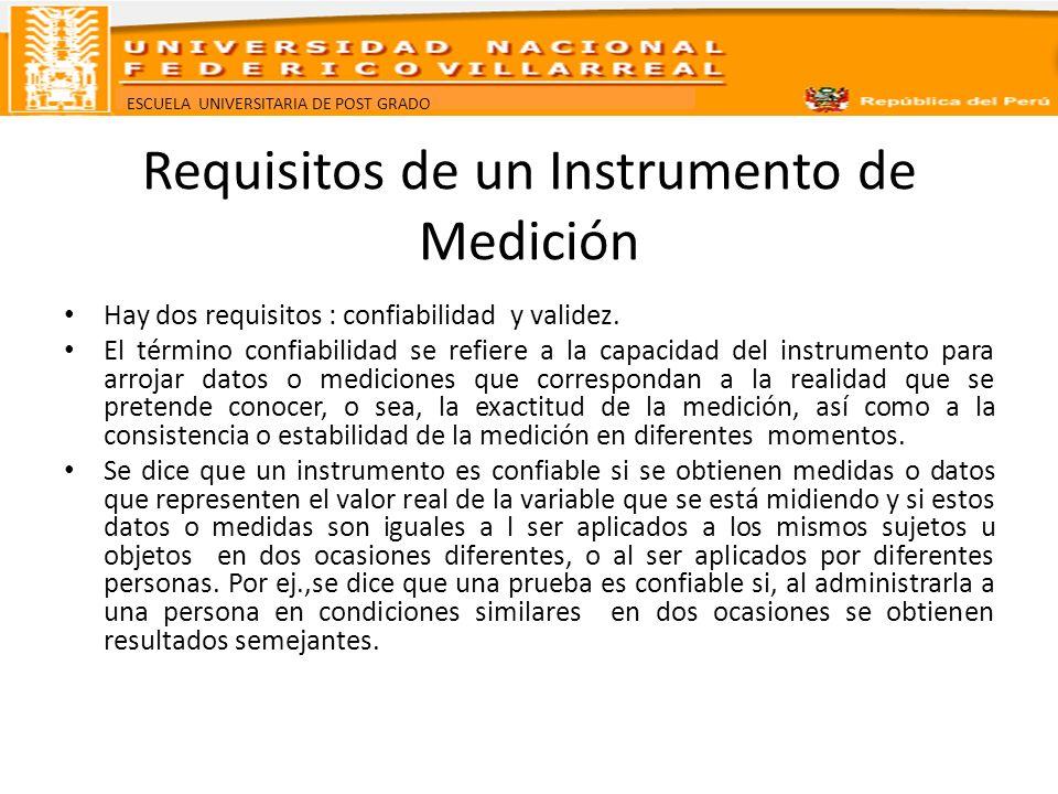 Requisitos de un Instrumento de Medición