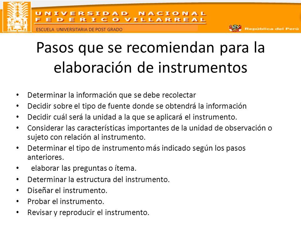 Pasos que se recomiendan para la elaboración de instrumentos