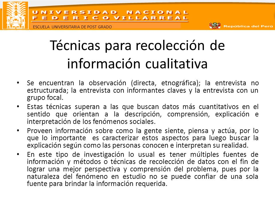 Técnicas para recolección de información cualitativa