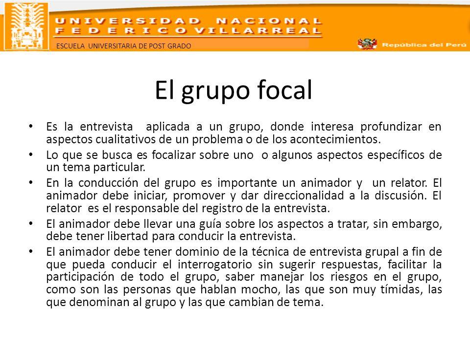 El grupo focal Es la entrevista aplicada a un grupo, donde interesa profundizar en aspectos cualitativos de un problema o de los acontecimientos.