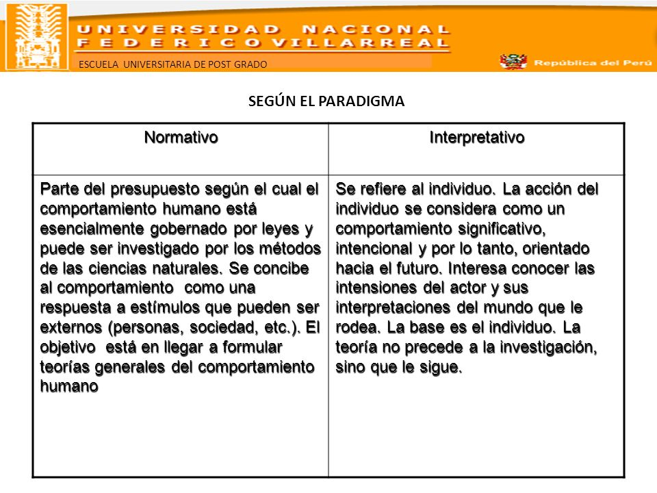 SEGÚN EL PARADIGMA Normativo. Interpretativo.