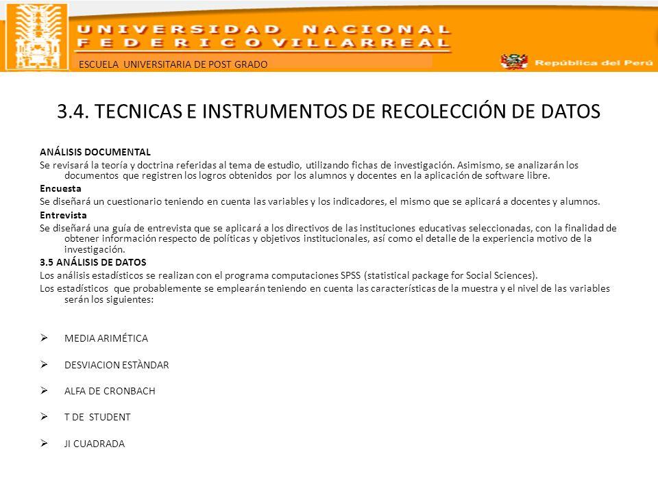 3.4. TECNICAS E INSTRUMENTOS DE RECOLECCIÓN DE DATOS
