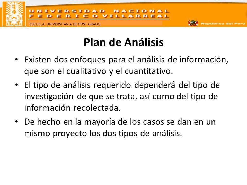 Plan de Análisis Existen dos enfoques para el análisis de información, que son el cualitativo y el cuantitativo.