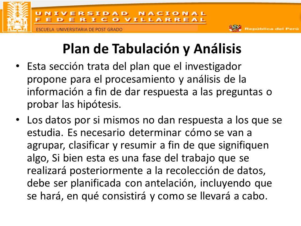 Plan de Tabulación y Análisis