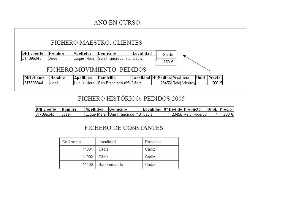 FICHERO MAESTRO: CLIENTES