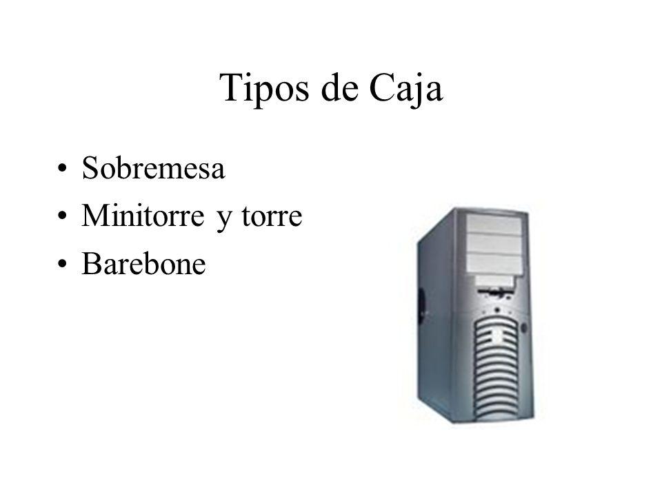 Tipos de Caja Sobremesa Minitorre y torre Barebone