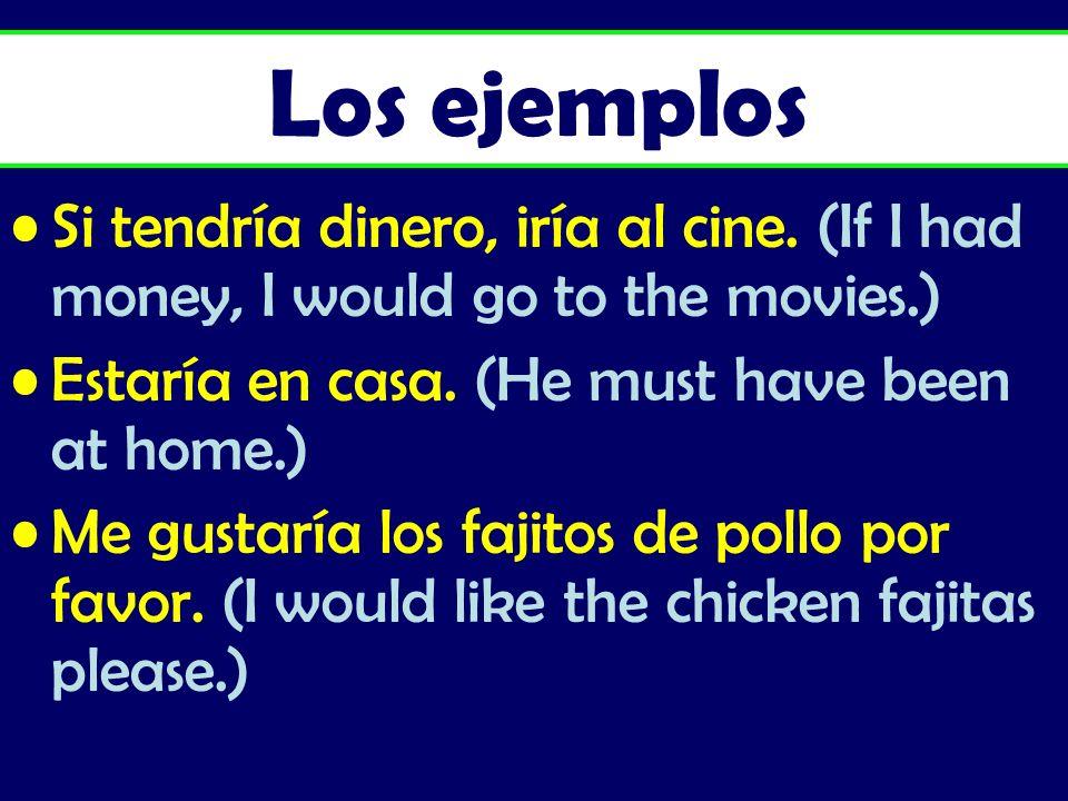 Los ejemplos Si tendría dinero, iría al cine. (If I had money, I would go to the movies.) Estaría en casa. (He must have been at home.)