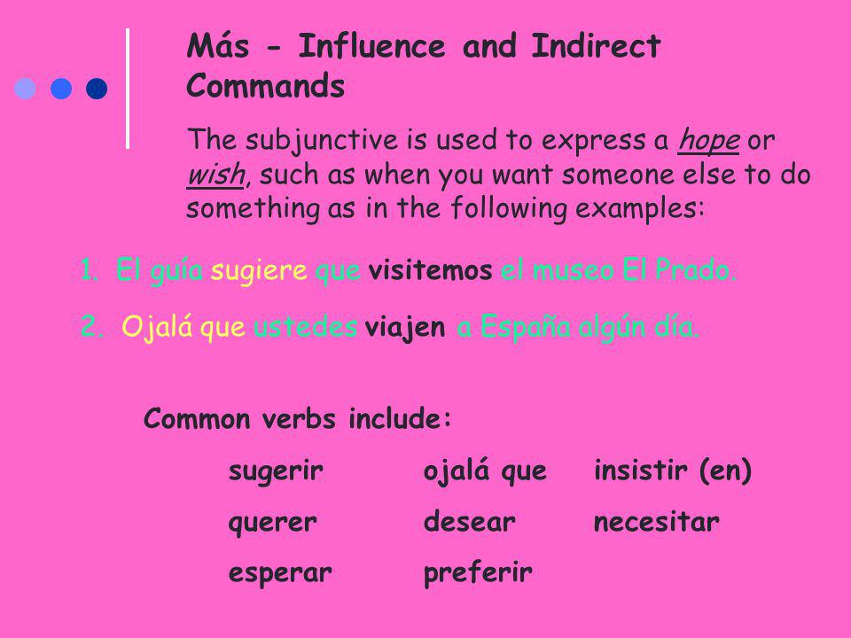 Más - Influence and Indirect Commands