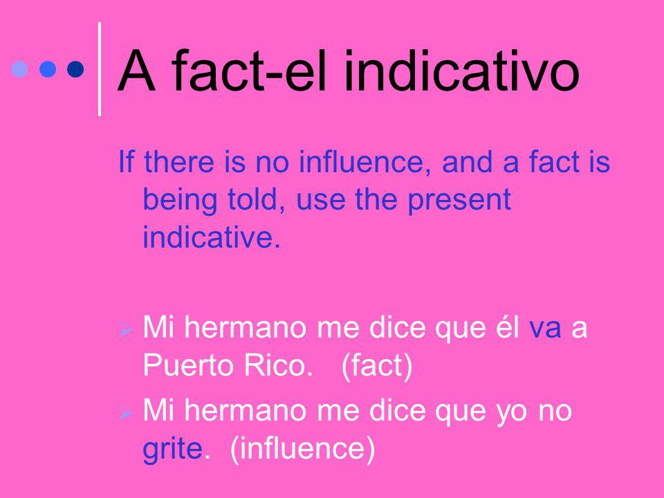 A fact-el indicativo If there is no influence, and a fact is being told, use the present indicative.