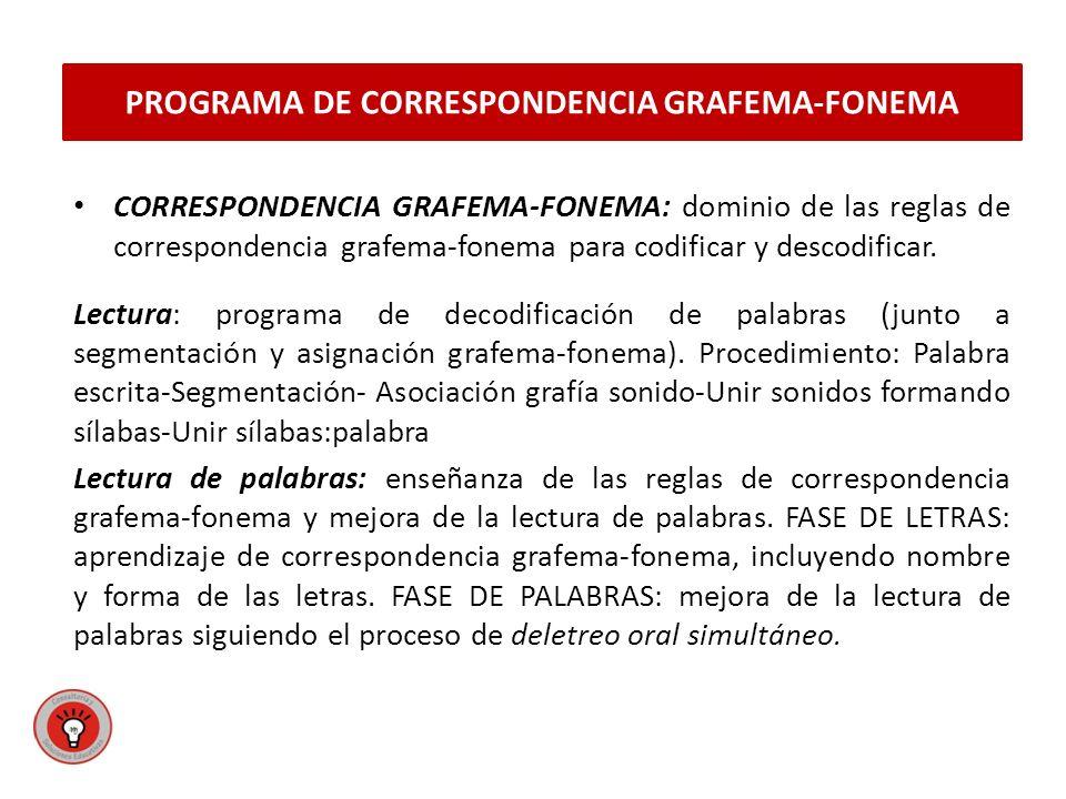 PROGRAMA DE CORRESPONDENCIA GRAFEMA-FONEMA