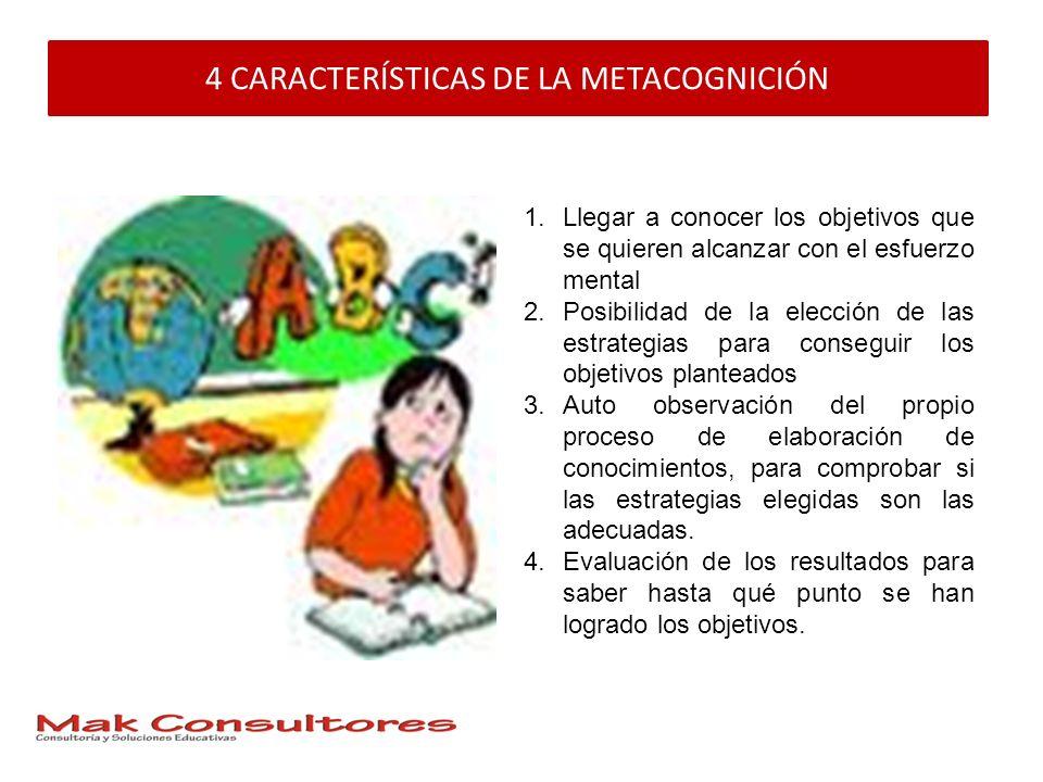 4 CARACTERÍSTICAS DE LA METACOGNICIÓN