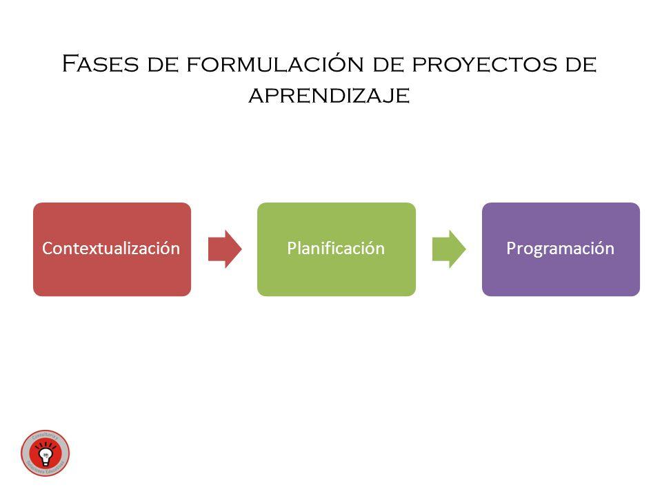 Fases de formulación de proyectos de aprendizaje