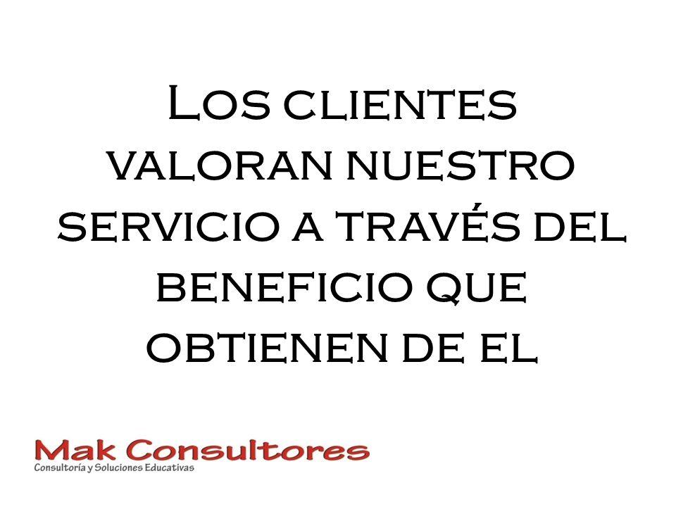 Los clientes valoran nuestro servicio a través del beneficio que obtienen de el
