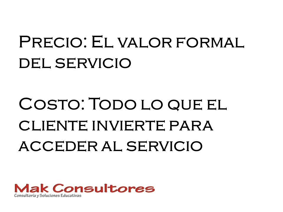 Precio: El valor formal del servicio