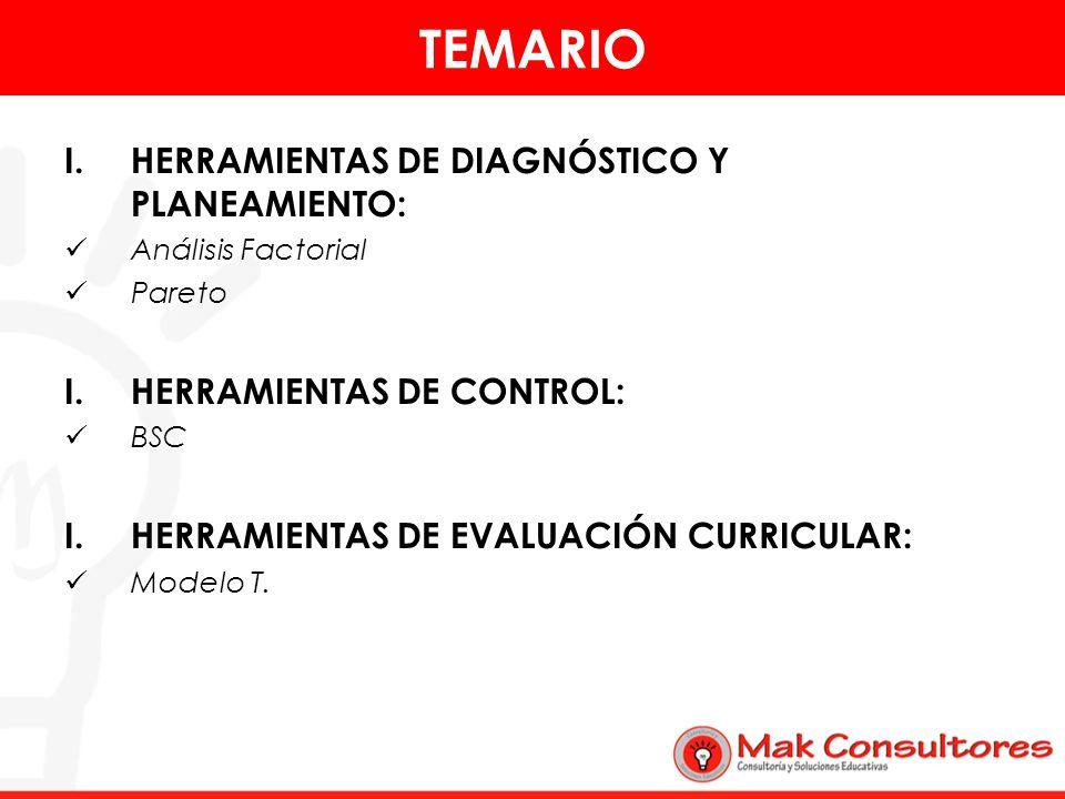 TEMARIO HERRAMIENTAS DE DIAGNÓSTICO Y PLANEAMIENTO: