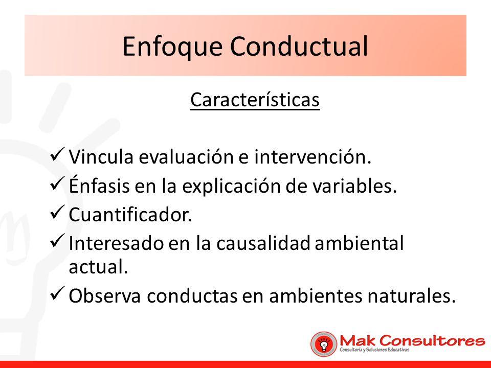 Enfoque Conductual Características Vincula evaluación e intervención.