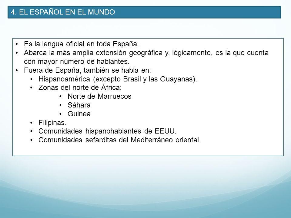 4. EL ESPAÑOL EN EL MUNDO Es la lengua oficial en toda España.