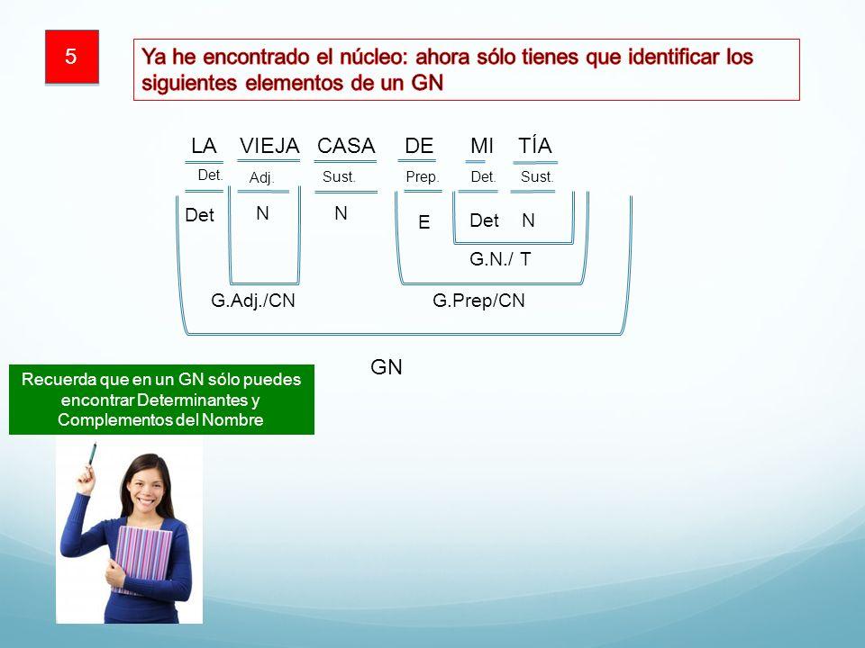 5 Ya he encontrado el núcleo: ahora sólo tienes que identificar los siguientes elementos de un GN. LA VIEJA CASA DE MI TÍA.