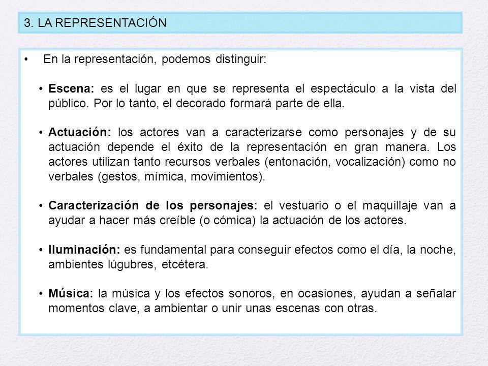 3. LA REPRESENTACIÓN En la representación, podemos distinguir: