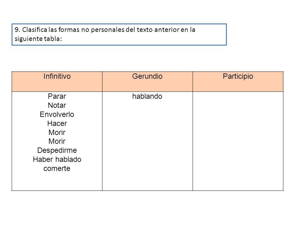 9. Clasifica las formas no personales del texto anterior en la siguiente tabla: