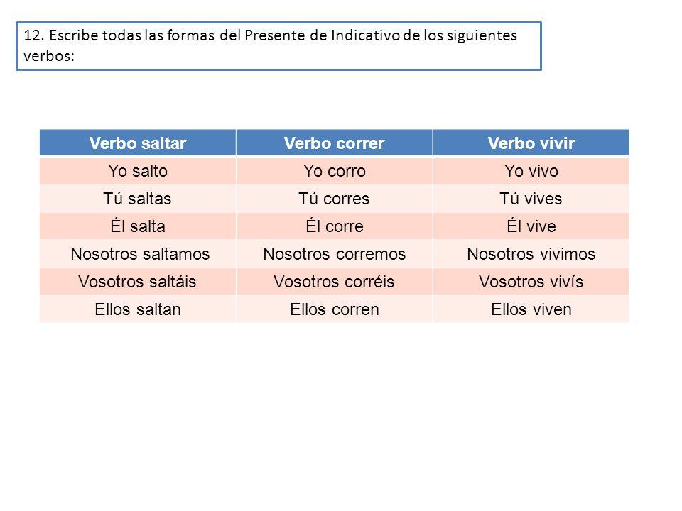 12. Escribe todas las formas del Presente de Indicativo de los siguientes verbos: