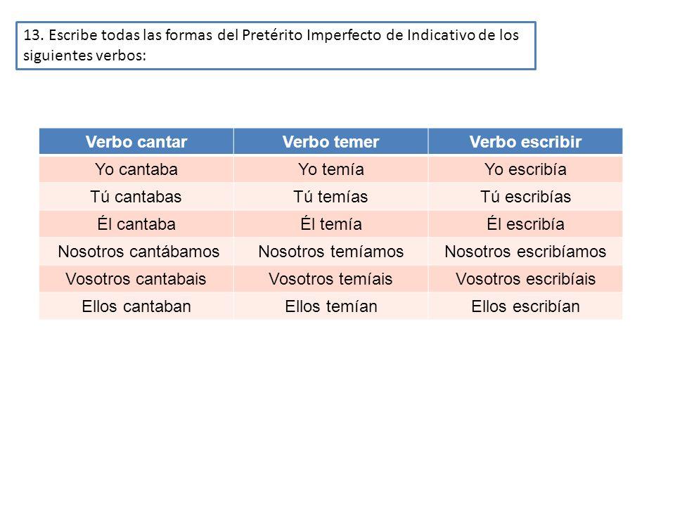 13. Escribe todas las formas del Pretérito Imperfecto de Indicativo de los siguientes verbos: