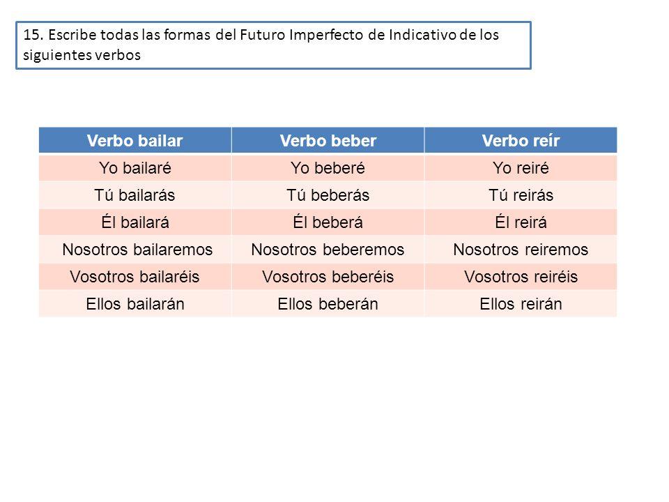15. Escribe todas las formas del Futuro Imperfecto de Indicativo de los siguientes verbos