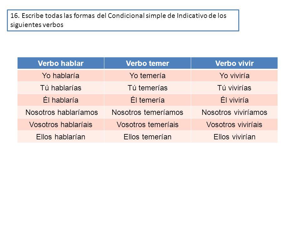 16. Escribe todas las formas del Condicional simple de Indicativo de los siguientes verbos