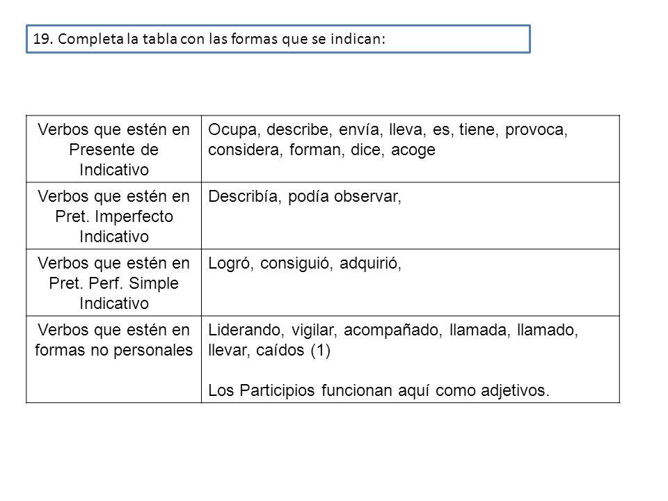 19. Completa la tabla con las formas que se indican:
