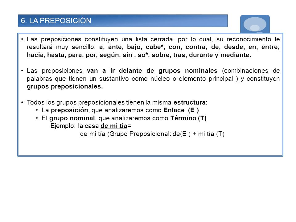 6. LA PREPOSICIÓN
