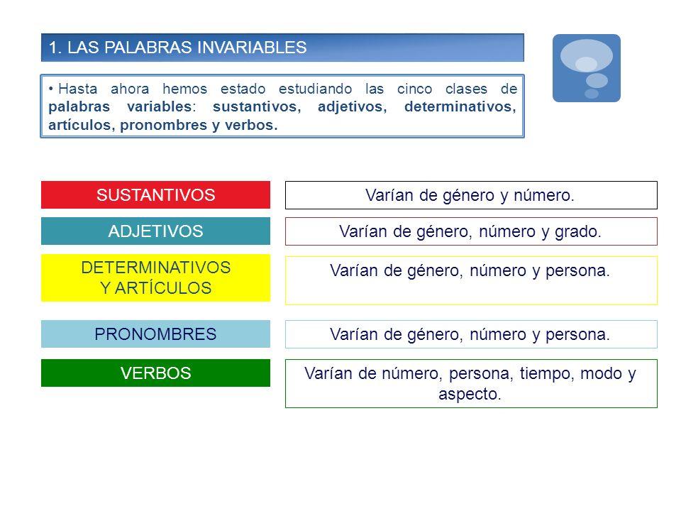 1. LAS PALABRAS INVARIABLES
