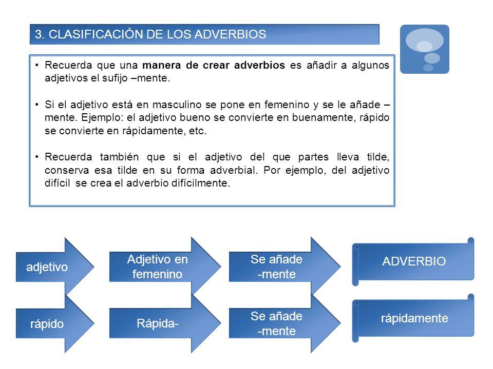 3. CLASIFICACIÓN DE LOS ADVERBIOS