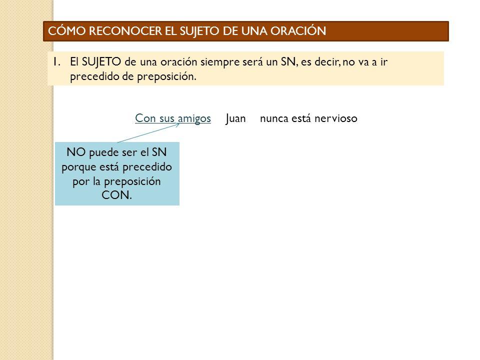 NO puede ser el SN porque está precedido por la preposición CON.