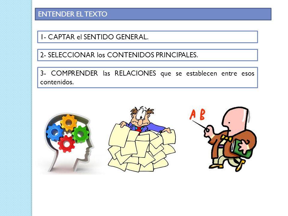 ENTENDER EL TEXTO 1- CAPTAR el SENTIDO GENERAL. 2- SELECCIONAR los CONTENIDOS PRINCIPALES.