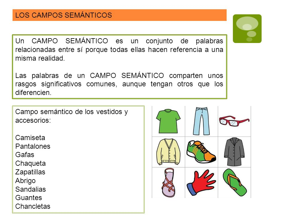 LOS CAMPOS SEMÁNTICOS Un CAMPO SEMÁNTICO es un conjunto de palabras relacionadas entre sí porque todas ellas hacen referencia a una misma realidad.