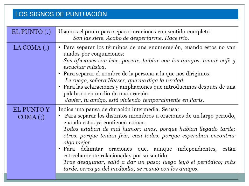 LOS SIGNOS DE PUNTUACIÓN EL PUNTO (.) LA COMA (,)