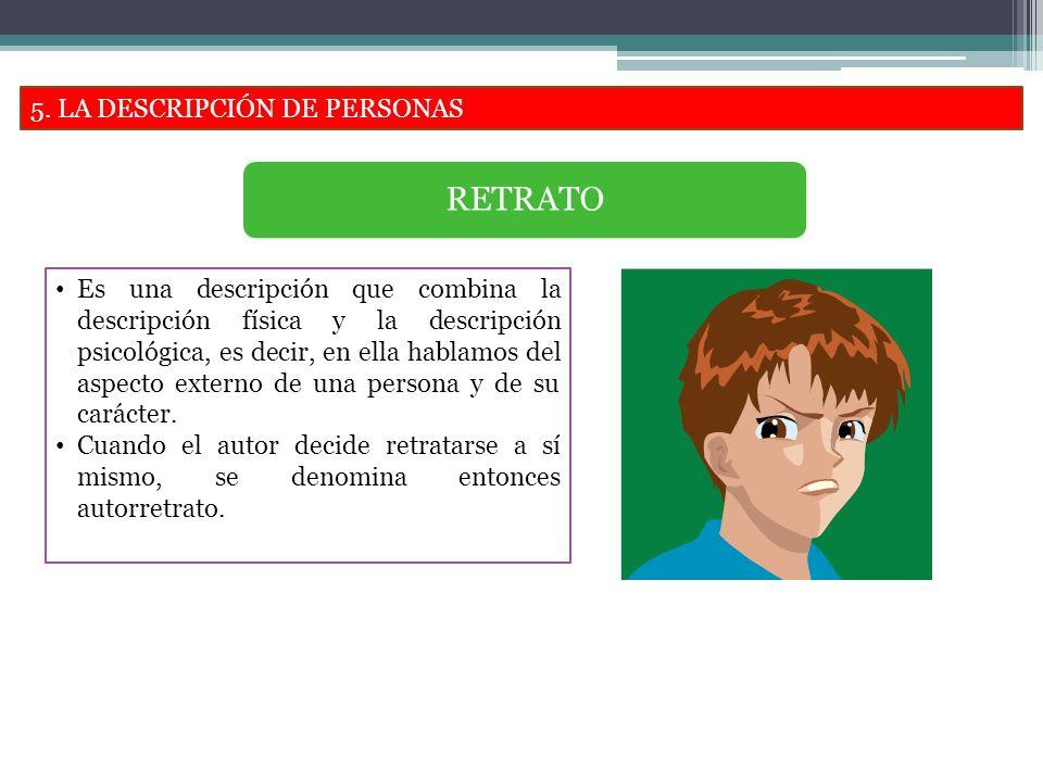 RETRATO 5. LA DESCRIPCIÓN DE PERSONAS