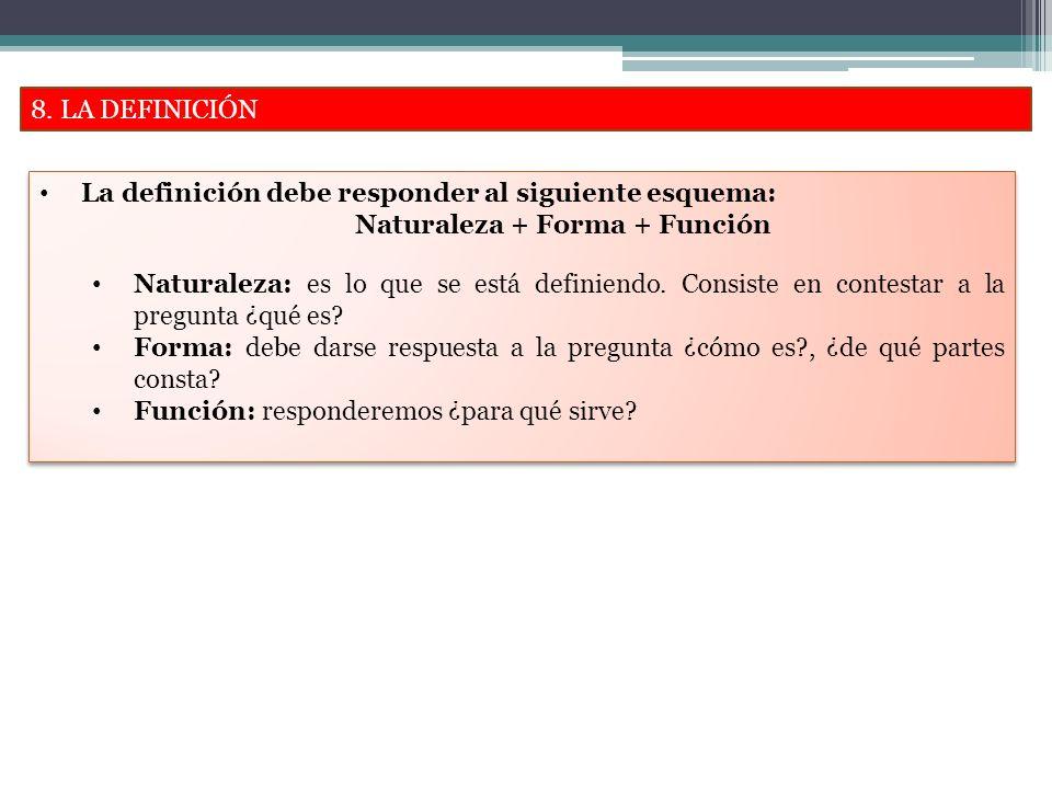 8. LA DEFINICIÓN La definición debe responder al siguiente esquema: Naturaleza + Forma + Función.