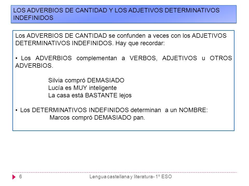 LOS ADVERBIOS DE CANTIDAD Y LOS ADJETIVOS DETERMINATIVOS INDEFINIDOS