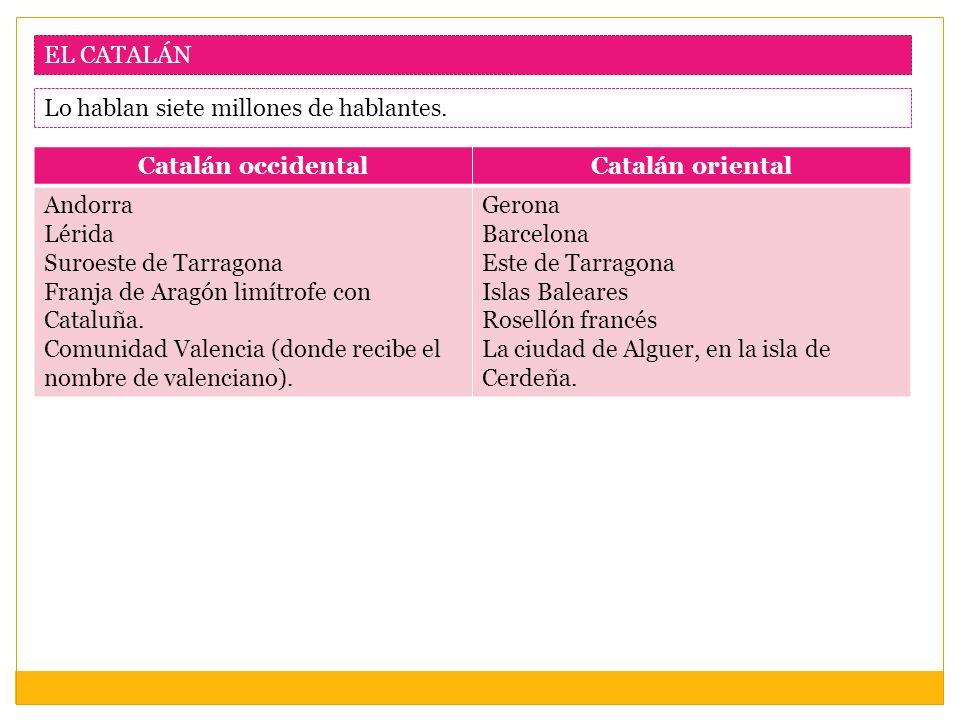 EL CATALÁN Lo hablan siete millones de hablantes. Catalán occidental. Catalán oriental. Andorra.