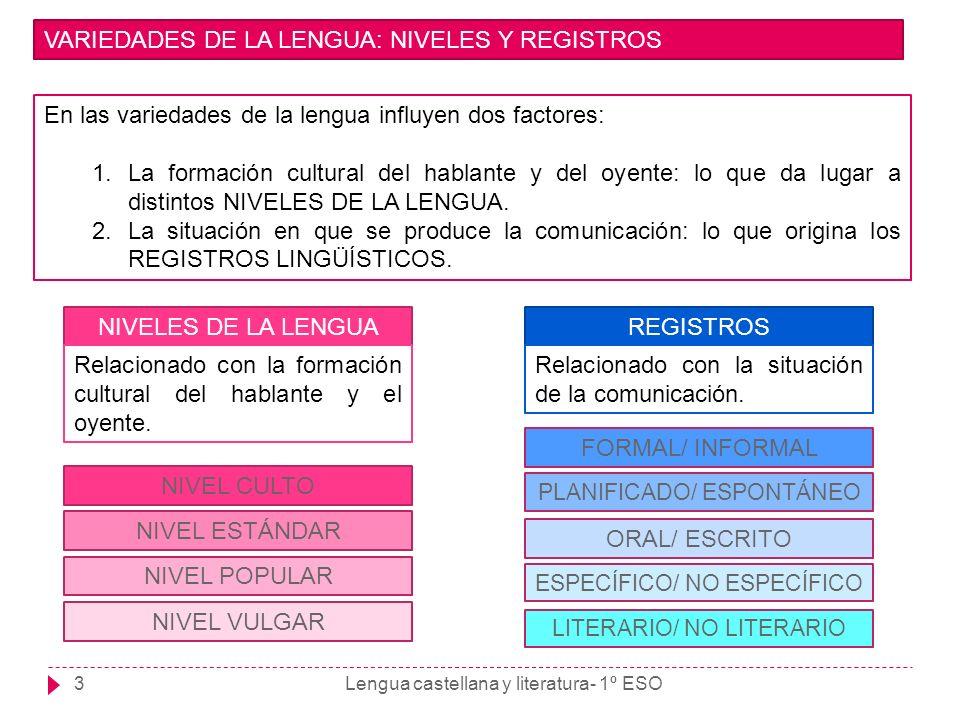 VARIEDADES DE LA LENGUA: NIVELES Y REGISTROS