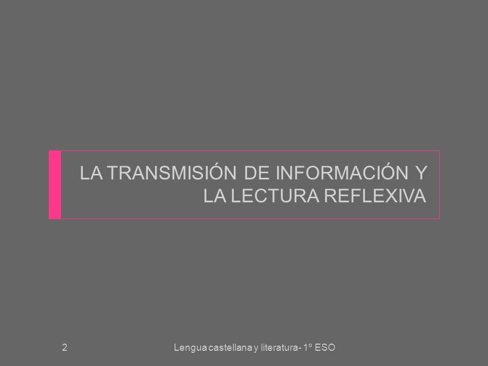 LA TRANSMISIÓN DE INFORMACIÓN Y LA LECTURA REFLEXIVA