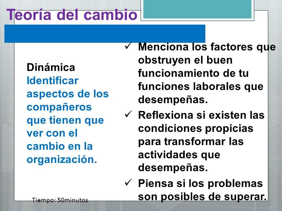 Teoría del cambioMenciona los factores que obstruyen el buen funcionamiento de tu funciones laborales que desempeñas.