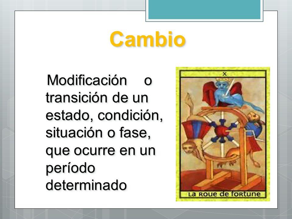 Cambio Modificación o transición de un estado, condición, situación o fase, que ocurre en un período determinado.