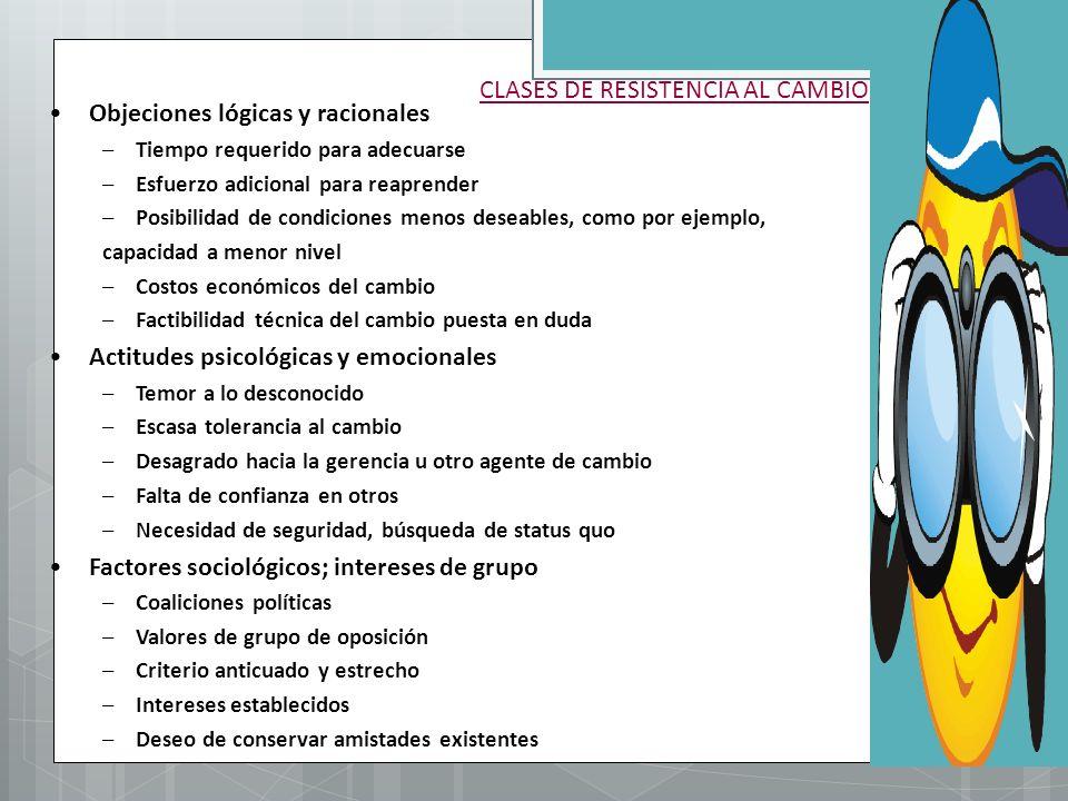 CLASES DE RESISTENCIA AL CAMBIO
